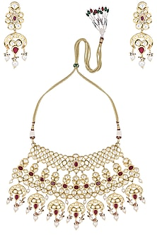 Gold Plated White and Red Kundan and Pearls Necklace Set by Polki Box