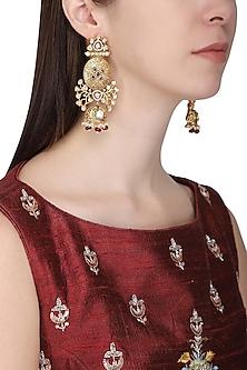 Gold Plated American Diamond and Polki Earrings by Polki Box
