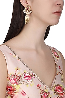 Gold Plated Pearl and American Diamond Earrings by Polki Box