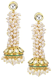 Gold Plated Pearl Earrings by Polki Box