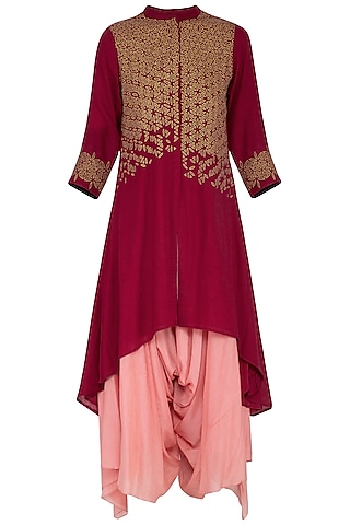Deep pink embroidered kurta with pants by POULI