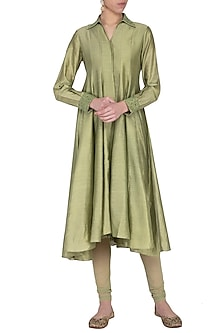 Light olive embroidered kurta with pants by POULI
