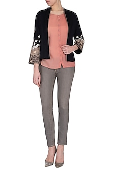 Black embroidered jacket by POULI