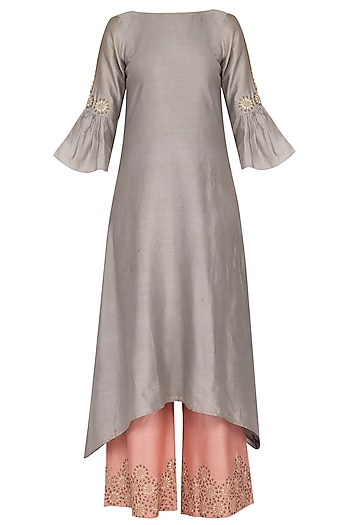 Grey embroidered kurta with pants by POULI