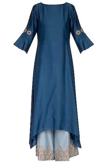 Deep blue embroidered kurta with pants by POULI