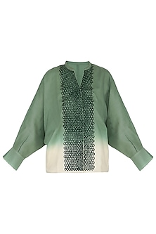 Deep sage green embroidered shirt by POULI