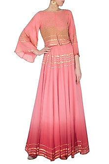 Coral embroidered jacket with lehenga skirt by POULI
