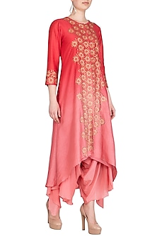 Fuchsia Hand Embroidered Ombre Kurta With Draped Crotch Pants by POULI