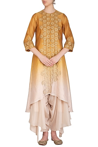 Yellow Hand Embroidered Ombre Kurta With Draped Crotch Pants by POULI
