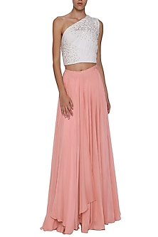 White One Shoulder Ruched Top with Pink Layered Skirt by POULI