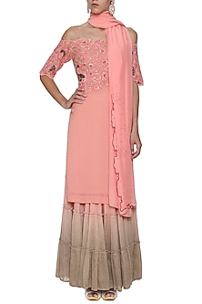 Vintage Pink Off Shoulder Embroidered Kurta Set by POULI