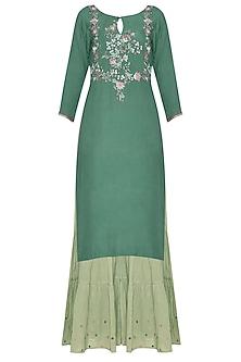 Deep Green Embroidered Kurta Set by POULI