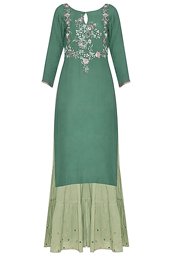 Deep Green Embroidered Kurta Set by POULI