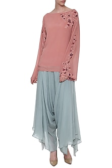 Pink Embroidered Gathered Top by POULI