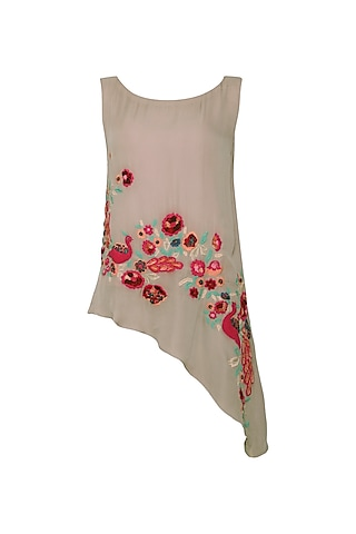 Warm Grey Floral and Peacock Embroidered Asymmetrical Top by POULI
