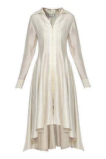 Off White Kalidar Asymmetrical Dress by POULI