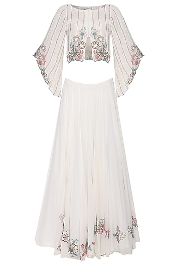 Off White Embroidered Flared Jacket with Lehenga Skirt by POULI