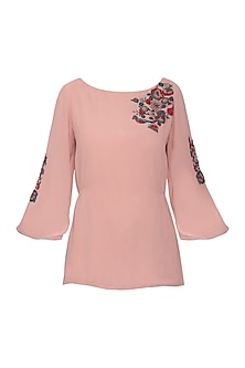 Pink Embroidered French Knot Top by POULI