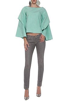 Green Boxy Double Layered Top by POULI