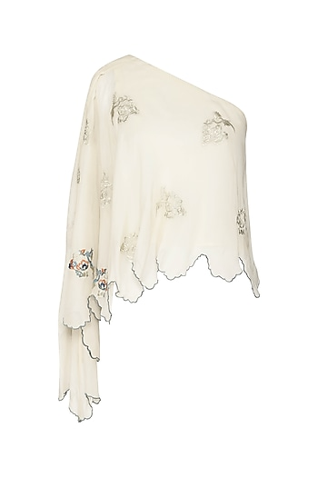 Off White One Shoulder Embroidered Flare Top by POULI