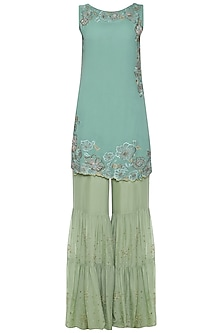 Blue Solid Dyed Floral Embroidered Kurta Set by POULI