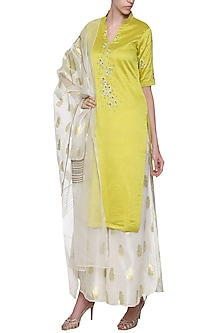 Lime Green Solid Dyed Embroidered Kurta Set by POULI