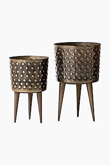 Hammered Polka Dot Black & Gold Iron Planter (Set of 2) by The Decor Remedy
