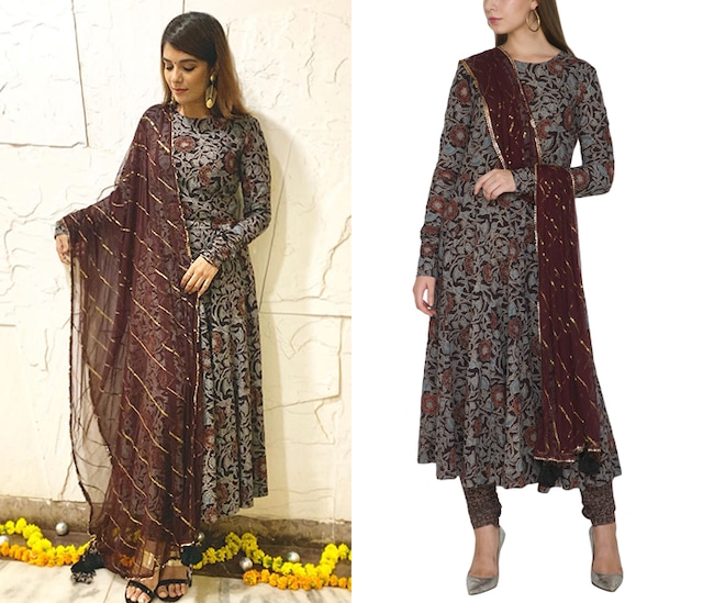 Grey Ajrakh Anarkali Set With Wine Dupatta by Khushbu Rathod