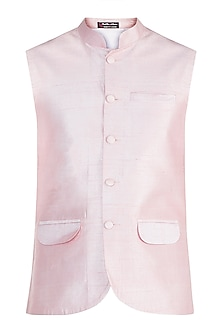 Peach Pink Bundi Jacket by Pink Peacock Couture Men