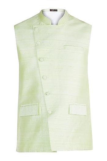 Mint Green Bundi Jacket by Pink Peacock Couture Men