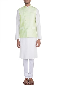 Mint Green Bundi Jacket by Pink Peacock Couture Men