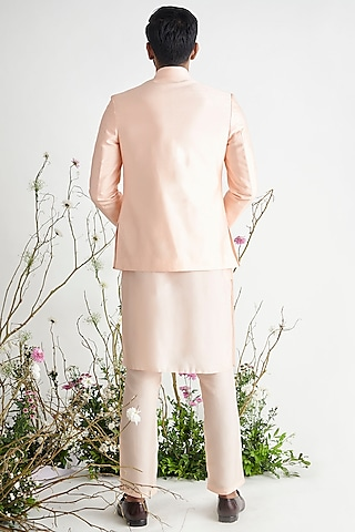 Peach Bandhgala Jacket Set by Pink Peacock Couture Men