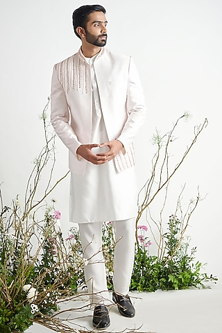 Light Lilac Embroidered Jacket Set by Pink Peacock Couture Men
