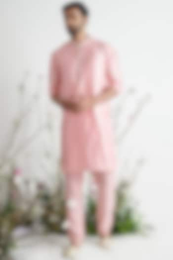 Rose Pink Embroidered Kurta Set by Pink Peacock Couture Men