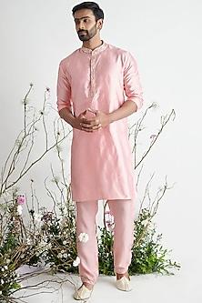 Rose Pink Embroidered Kurta Set by Pink Peacock Couture Men-PINK PEACOCK COUTURE MEN