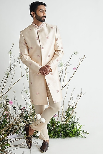 Nude Embroidered Sherwani Set by Pink Peacock Couture Men