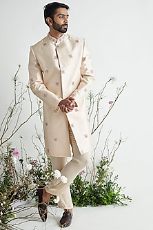 Nude Embroidered Sherwani Set by Pink Peacock Couture Men-PINK PEACOCK COUTURE MEN