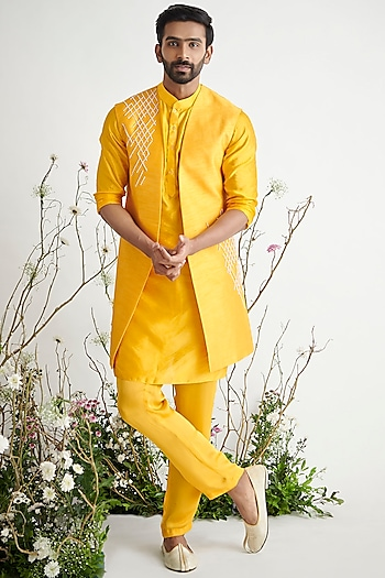 Yellow Embroidered Sherwani Set by Pink Peacock Couture Men