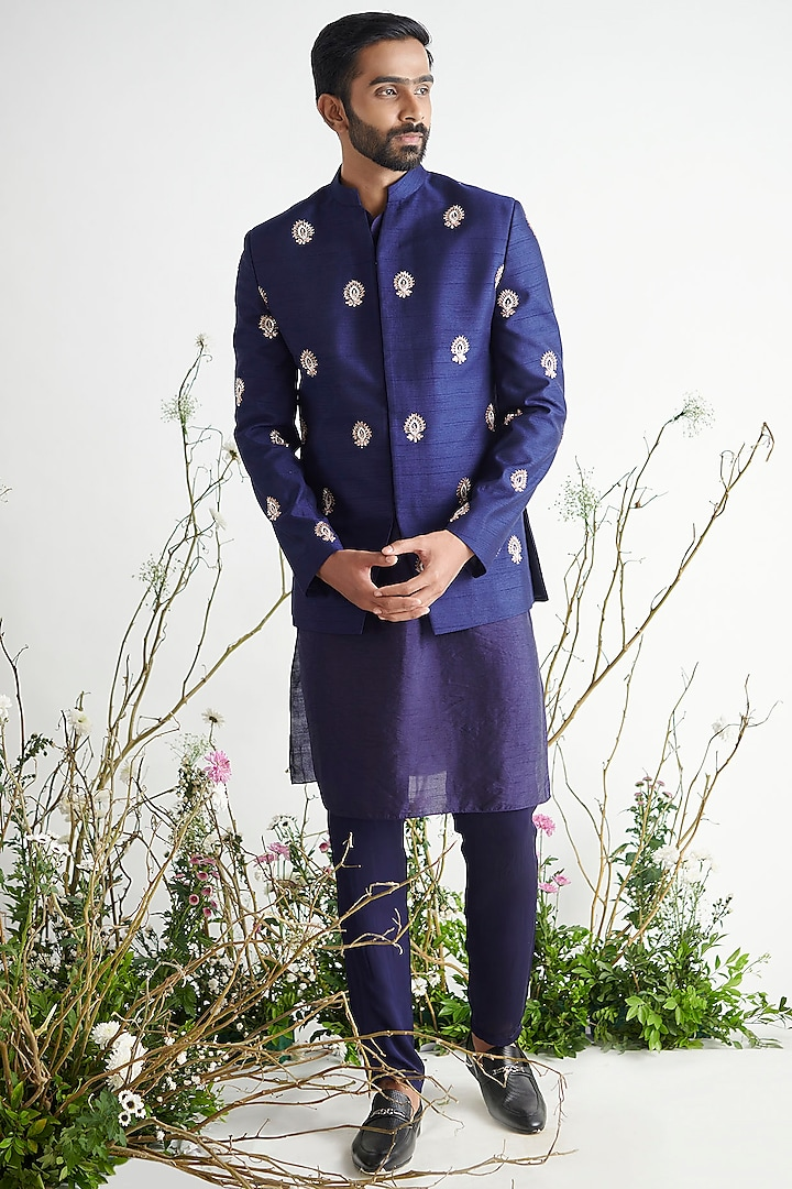 Navy Blue Embroidered Bandhgala Jacket Set by Pink Peacock Couture Men