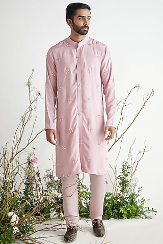 Dusted Pink Embroidered Kurta Set by Pink Peacock Couture Men