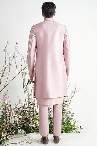Dusted Lilac Embroidered Sherwani Set by Pink Peacock Couture Men