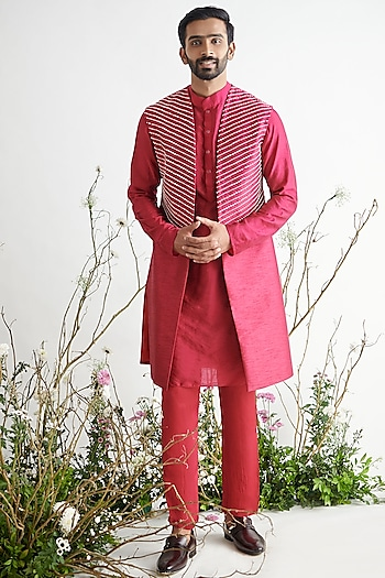 Crimson Embroidered Sherwani Set by Pink Peacock Couture Men