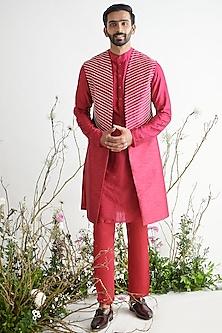 Crimson Embroidered Sherwani Set by Pink Peacock Couture Men-PINK PEACOCK COUTURE MEN