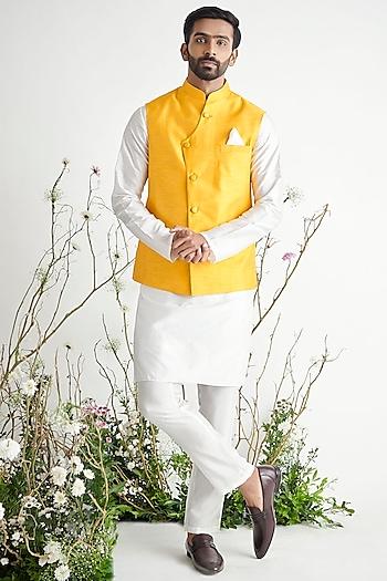 Yellow Bundi Jacket Set by Pink Peacock Couture Men