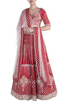 Red Embroidered Lehenga Set by Pink Peacock Couture