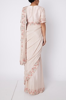 Blush Pink Embroidered Saree Set by Pink Peacock Couture