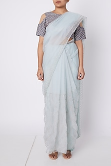 Powder Blue & Purple Checkered Saree Set by Pink Peacock Couture