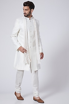 White Embroidered Sherwani Set by Pink Peacock Couture Men-POPULAR PRODUCTS AT STORE