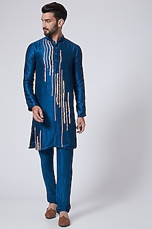 Blue Embroidered Kurta Set by Pink Peacock Couture Men-POPULAR PRODUCTS AT STORE