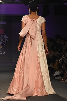 Pink & White Embroidered Gown by Pink Peacock Couture